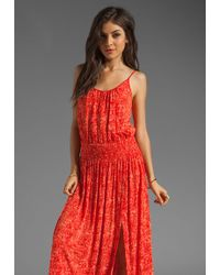 Tracy Reese Printed Jersey High Slit Maxi Slip Dress in Red Freckle - Lyst