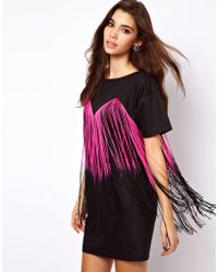 Asos Tee Dress with Fringing - Lyst