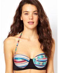 Asos Blanket Print Fuller Bust Longline Padded Bikini Top - Lyst