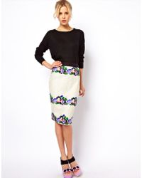 Asos Pencil Skirt in Lace with Floral Applique - Lyst