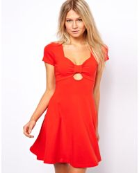 Asos Skater Dress with Bow Cut Out Detail - Lyst