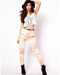 Asos Peg Trouser with Seam Detail in Tie Dye - Lyst