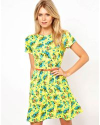 Asos Skater Dress in Bright Neon Floral with Belt - Lyst