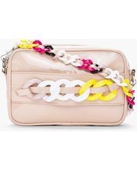 Versus  Nude Leather Multicolor Curb Chain Clutch - Lyst