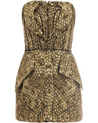 Alexander McQueen Honeycomb Jacquard Strapless Top gold - Lyst