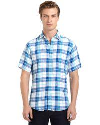Blue Saks Fifth Avenue - Linen Plaid Button Front Shirt - Lyst