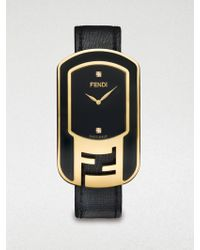 Fendi Goldtone Ip Stainless Steel & Diamond Watch/Black - Lyst