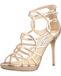 Jimmy Choo Bunting Glittered Metallic Sandals - Lyst