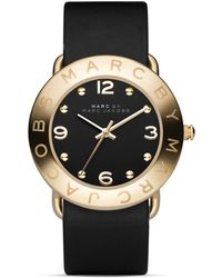 Marc By Marc Jacobs Amy 36mm Black Leather Strap Watch - Lyst