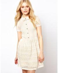 River Island Lace Placket Dress - Lyst