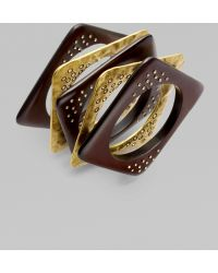ABS By Allen Schwartz Wood Bangle Bracelet Set - Lyst