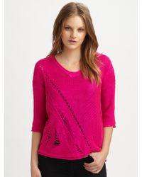 Aro - Distressed Vneck Sweater - Lyst