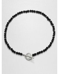 Gucci Silver and Onyx Necklace - Lyst