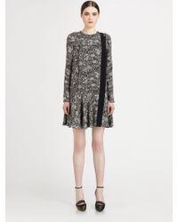 Proenza Schouler Silk Printed Dropwaist Dress - Lyst