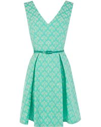 Oasis Mint Jacquard Dress - Lyst