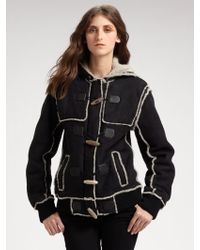 Proenza Schouler Shearling Hooded Toggle Coat - Lyst