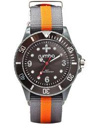 Rumbatime - Grey and Orange Round Watch - Lyst