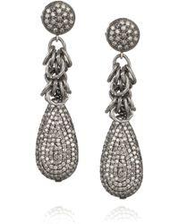 Irit Design - Oxidized Sterling Silver Diamond Earrings - Lyst