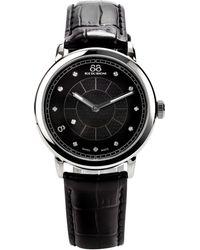 88 Rue Du Rhone - Womens Large Black Diamond Set Dial Leather Strap Watch - Lyst