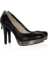 MICHAEL Michael Kors Kadin Leather and Snake Effect Leather Pumps - Lyst
