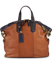 orYANY | Sydney Convertible Tote navy and Cognac | Lyst