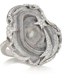 Lydia Courteille - Star 18karat White Gold Quartz and Diamond Ring - Lyst