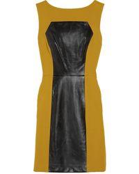 Milly Nina Leather Paneled Crepe Dress - Lyst