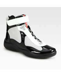Prada Hightop Patent Sneakers - Lyst