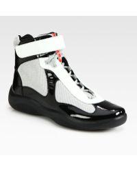 Prada Hightop Patent Sneakers white - Lyst