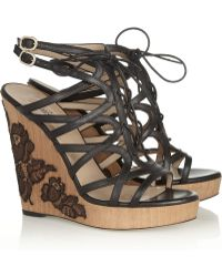 Valentino Laceappliquéd Leather Wedges - Lyst