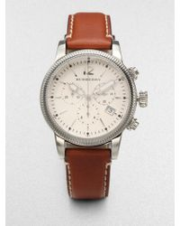 Burberry Stainless Steel & Leather Chronograph Watch/Tan - Lyst