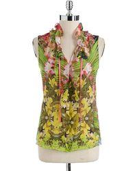 Elie Tahari Selena Floral Print Blouse - Lyst