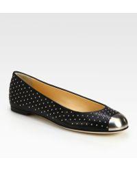 Giuseppe Zanotti Studded Leather Metaldetail Ballet Flats - Lyst