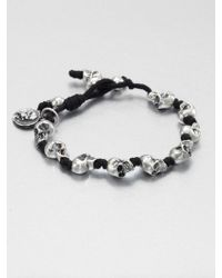 King Baby Studio Knotted Cord Bracelet silver - Lyst
