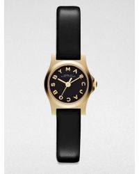 Marc By Marc Jacobs Henry Dinky Goldtone Stainless Steel & Leather Strap Watch/Black - Lyst