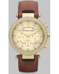 Michael Kors Swarovski Crystal Leather Chronograph Watch - Lyst