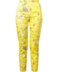 Olympia Le-Tan - Vegetable Printed Stretch-cotton Trousers - Lyst