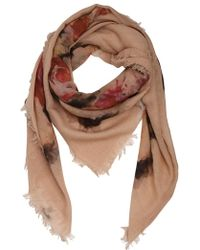 Contileoni - Floral Printed Wool Gauze Scarf - Lyst