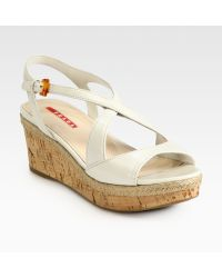 Prada Leather Cork Wedge Sandals - Lyst