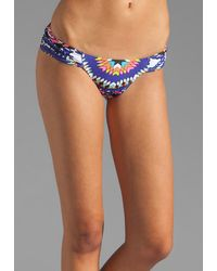 Mara Hoffman Ruched Side Bottom Bikini in Pow Wow White - Lyst