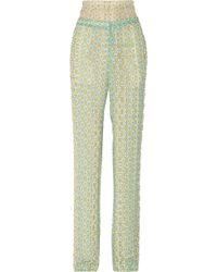 Roberto Cavalli Printed Georgette Wide Leg Pants - Lyst