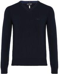 Armani Jeans - Contrast Vneck Sweater - Lyst