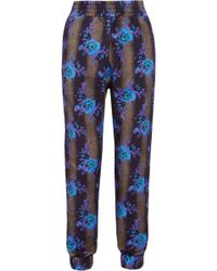 Christopher Kane Floralprint Cottonjersey Track Pants - Lyst