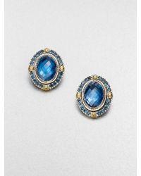Konstantino - Semi-Precious Multi-Stone Sterling Silver & 18K Yellow Gold Clip-On Button Earrings - Lyst