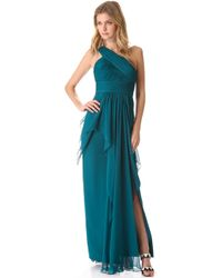 Notte By Marchesa One Shoulder Chiffon Gown with Cascading Skirt - Lyst