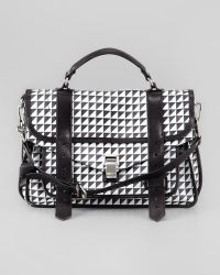 Proenza Schouler Ps1 Triangleprint Medium Satchel Bag Blackwhite - Lyst