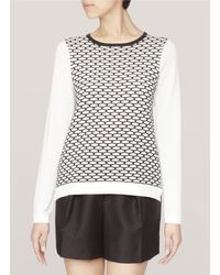 Tibi Mesh patterned Cotton blend Sweater - Lyst