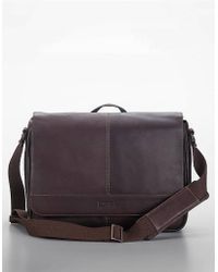Kenneth Cole Reaction Brown Leather Messenger Bag - Lyst