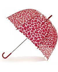 Lulu Guinness Red Lips Birdcage Umbrella - Lyst