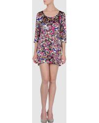 Olivia Rubin - Belle Printed Silk-satin Shift Dress - Lyst